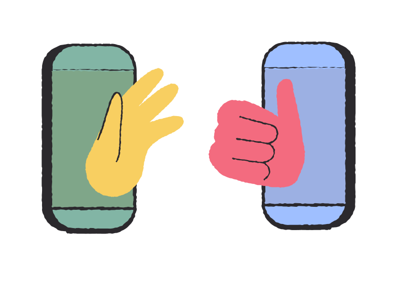 Social distancing.  Friendship on the phone. Stay home concept. Clipart illustration in PNG, SVG