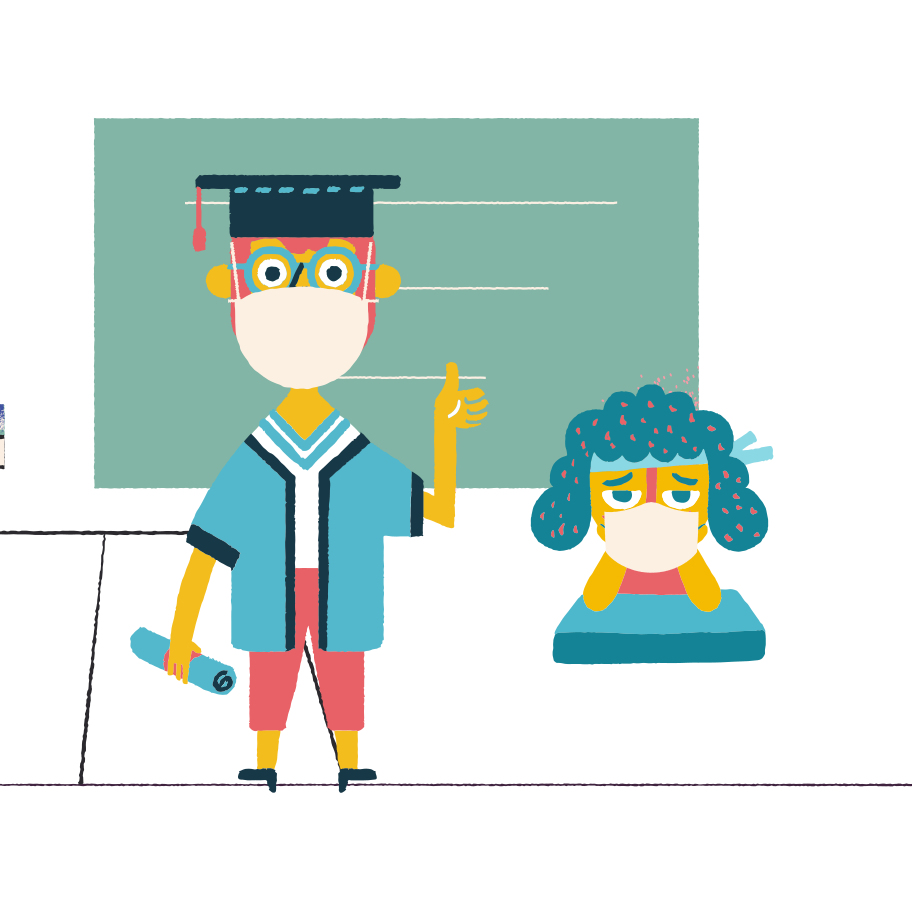 Education in pandemic times Clipart illustration in PNG, SVG