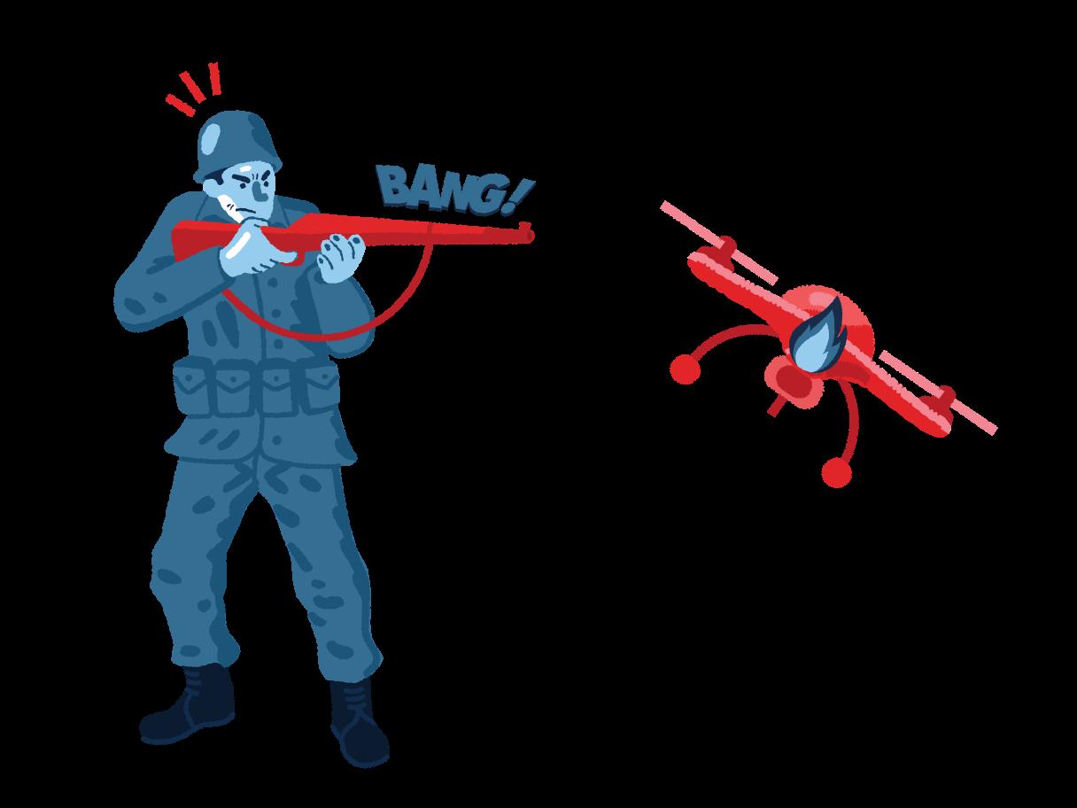 Illustration clipart Militaire a abattu un quadcopter aux formats PNG, SVG