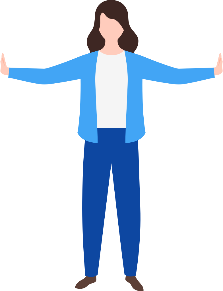 woman hands to the sides Clipart illustration in PNG, SVG