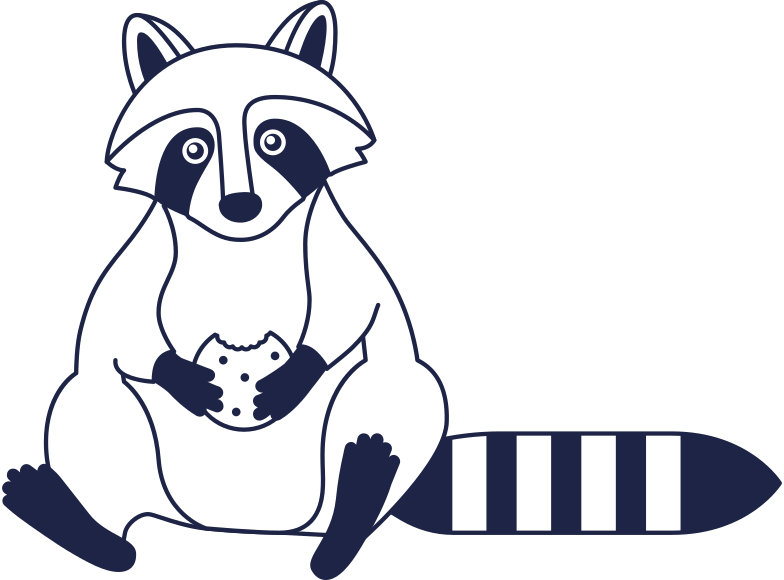come back later  raccoon line Clipart illustration in PNG, SVG