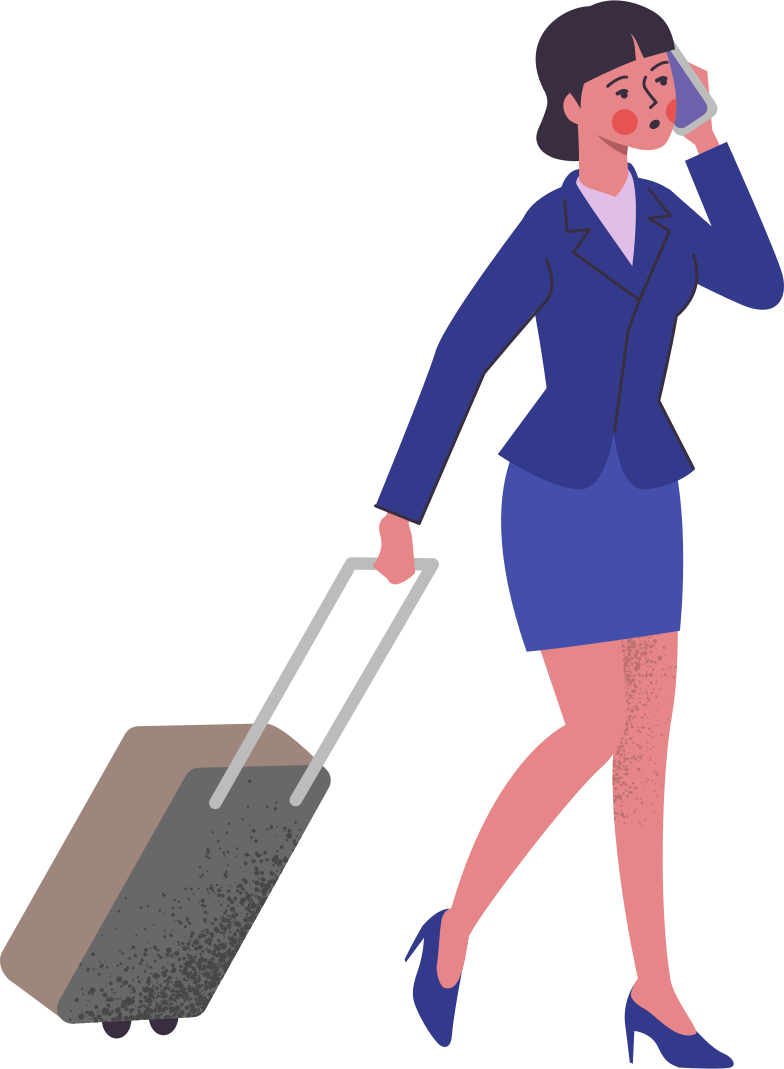 woman-in-suit-with-bag Clipart illustration in PNG, SVG