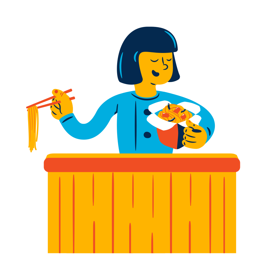 style Woman eats noodles Vector images in PNG and SVG | Icons8 Illustrations