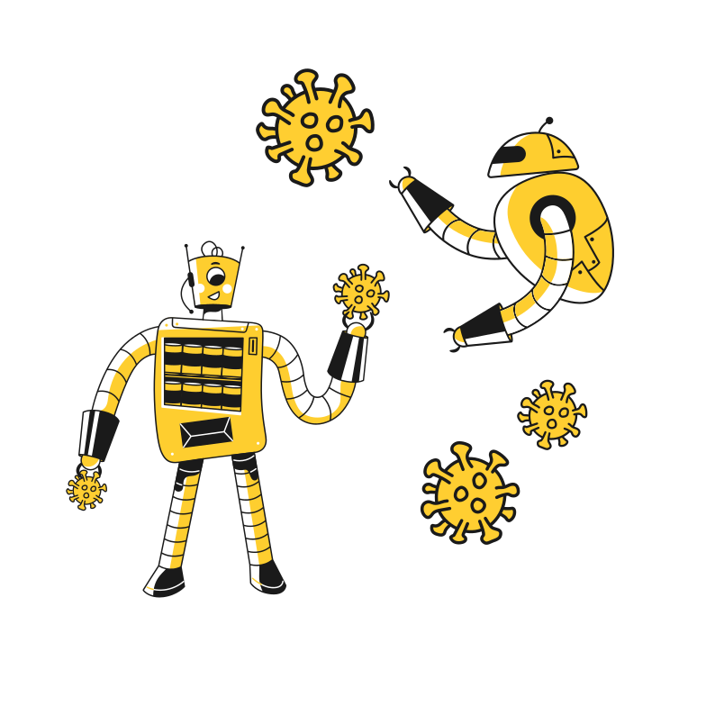 Robots catch a virus molecules Clipart illustration in PNG, SVG