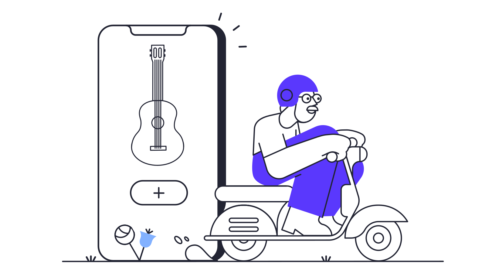 Musical instruments app delivery Clipart illustration in PNG, SVG