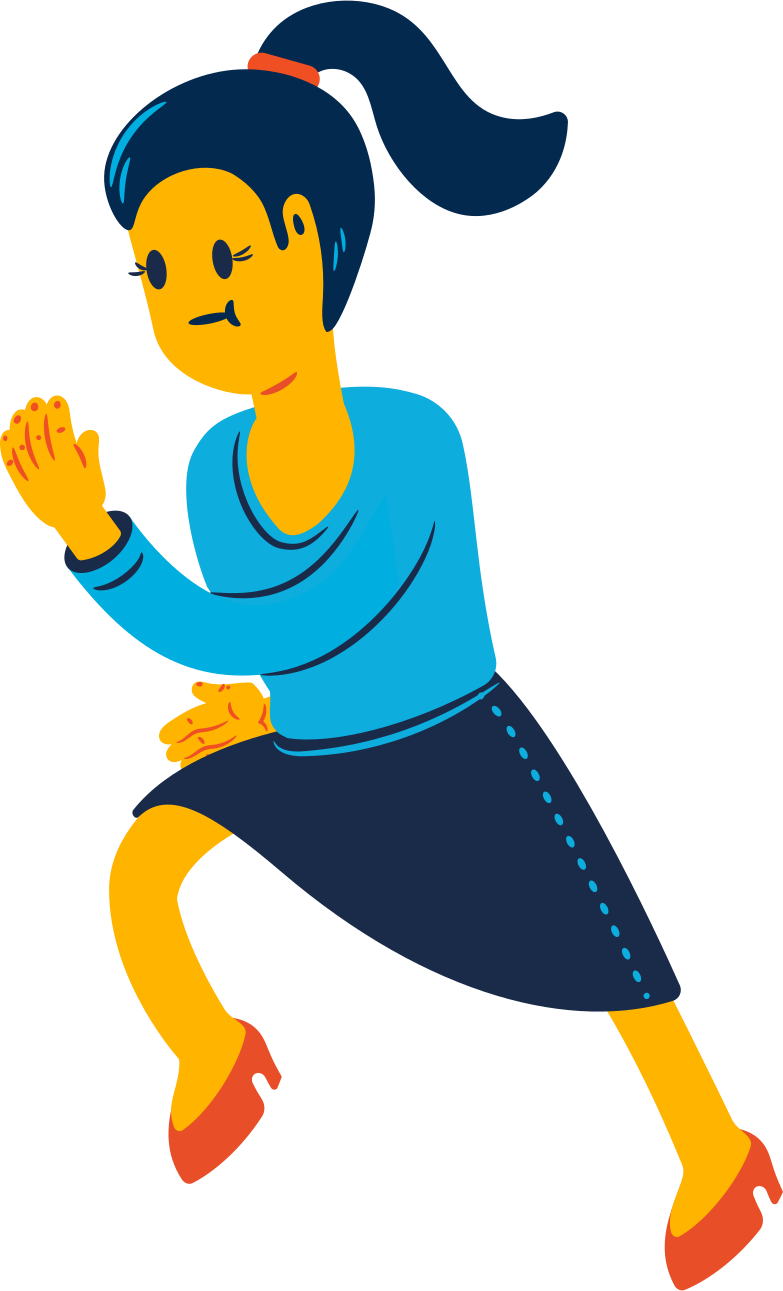 running woman with a ponytail Clipart illustration in PNG, SVG