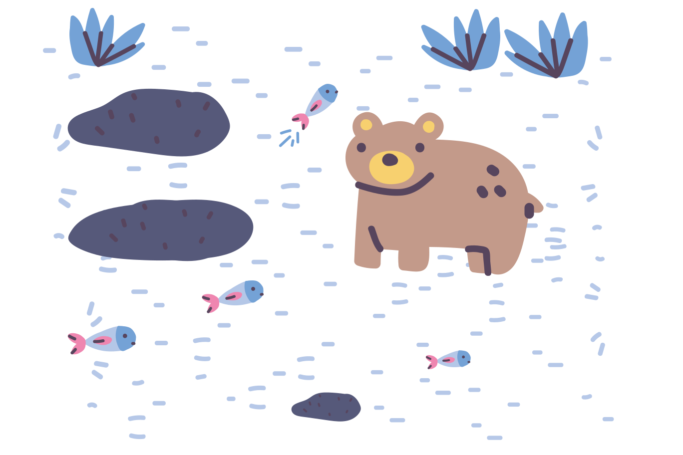 Bear fishing Clipart illustration in PNG, SVG