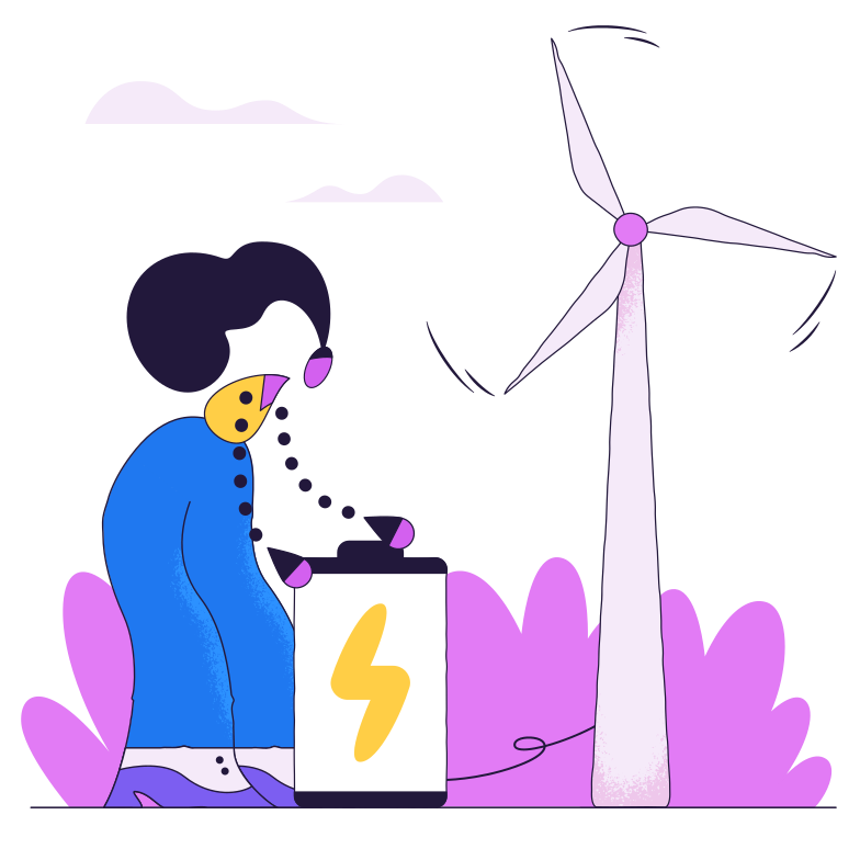Charging the battery with a windmill Clipart illustration in PNG, SVG