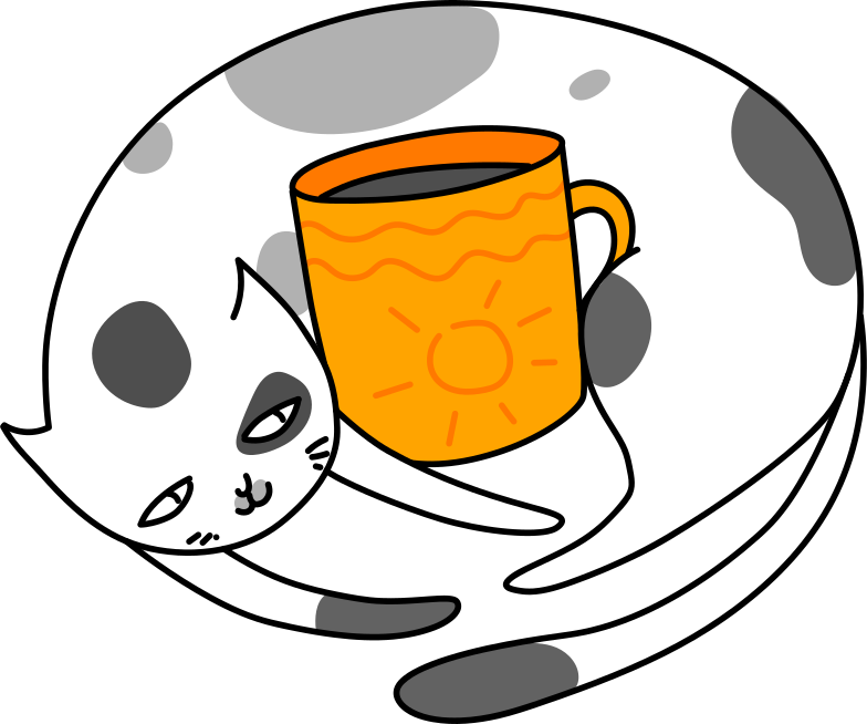 cat with cup Clipart illustration in PNG, SVG