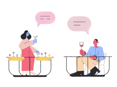 style Isolated chatting from balconies images in PNG and SVG | Icons8 Illustrations