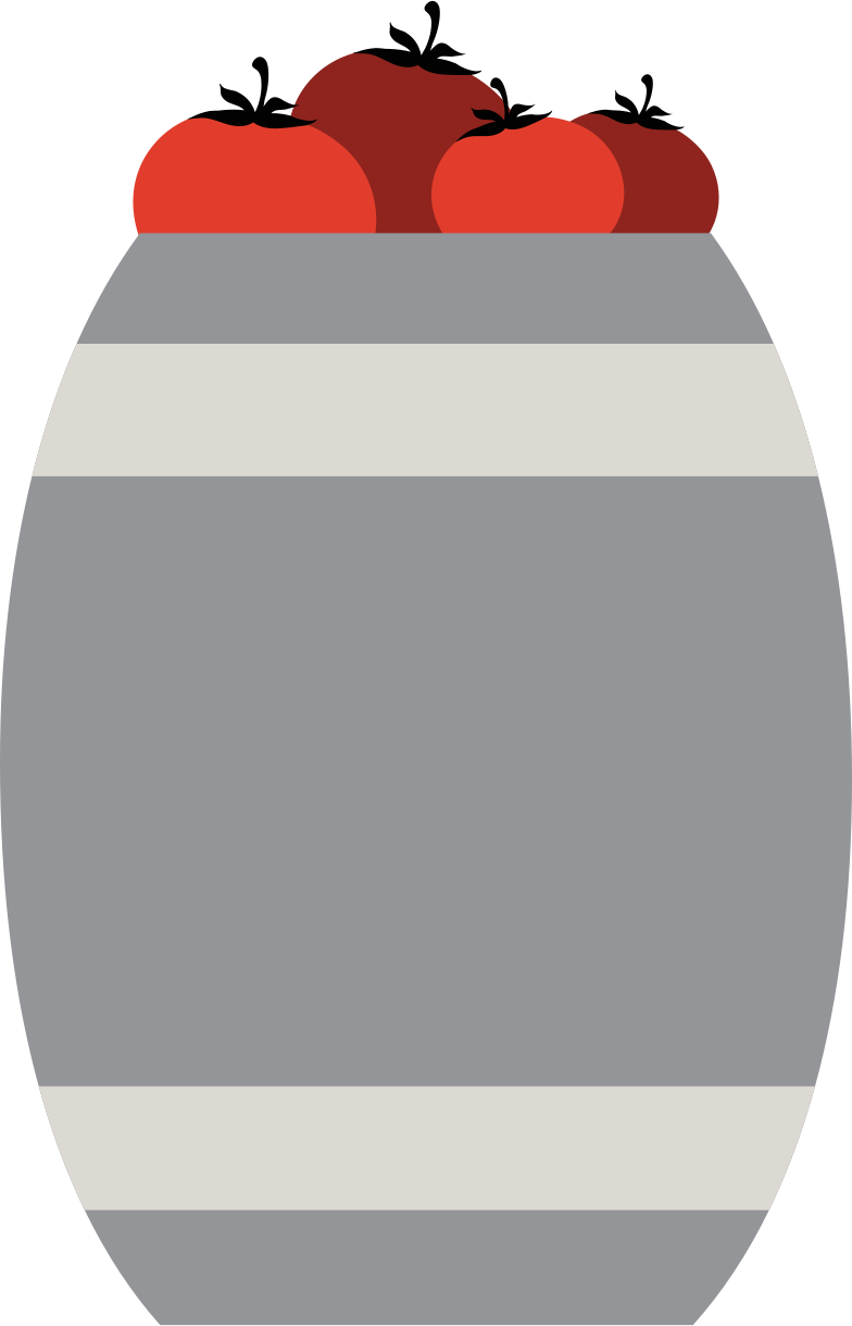 barrel with tomatoes Clipart illustration in PNG, SVG