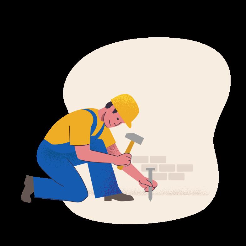 Builder on duty Clipart illustration in PNG, SVG