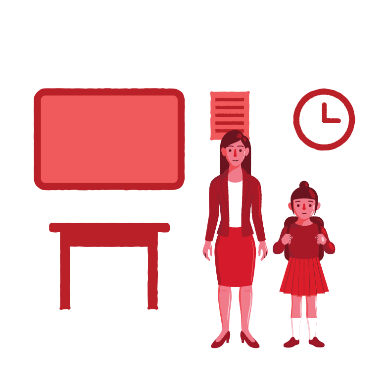 Teacher and pupil in the class Clipart illustration in PNG, SVG