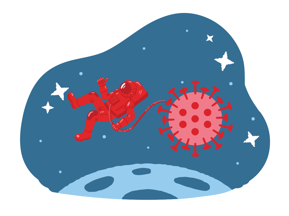 Astronaut is powered by virus Clipart illustration in PNG, SVG