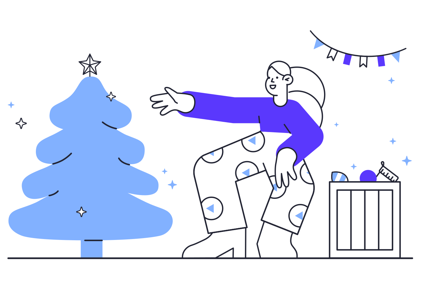 Prepairing for Christmas Clipart illustration in PNG, SVG