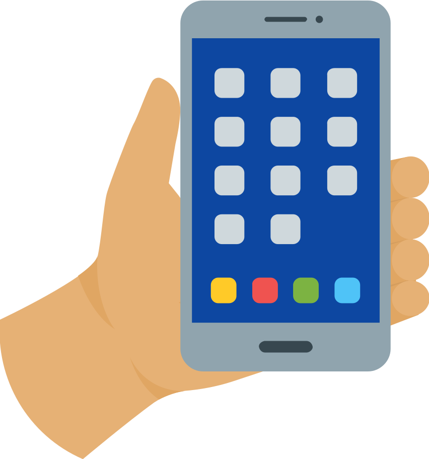 mobile phone in hand Clipart illustration in PNG, SVG