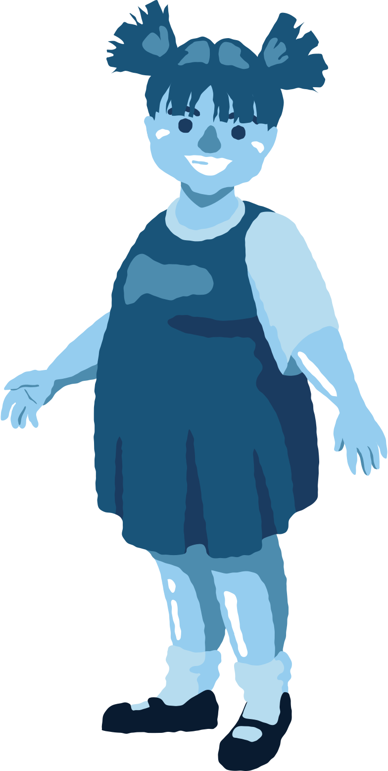 chubby girl standing front Clipart illustration in PNG, SVG