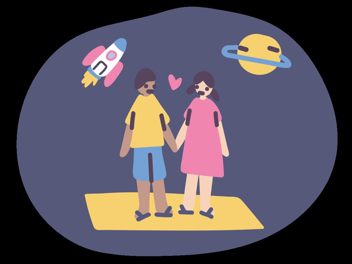 Ilustración de clipart de amor cósmico en PNG, SVG