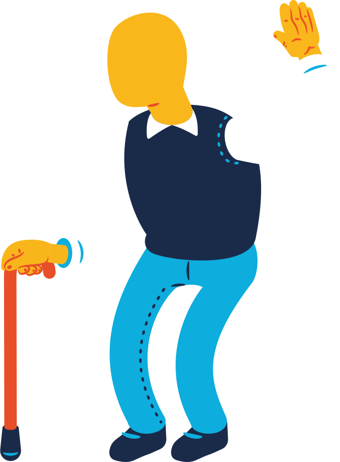 old man greeting Clipart illustration in PNG, SVG