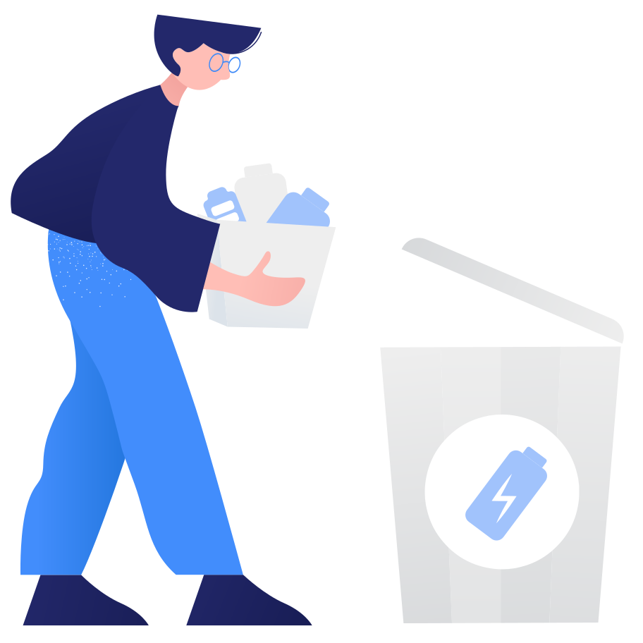 Waste sorting- battery Clipart illustration in PNG, SVG