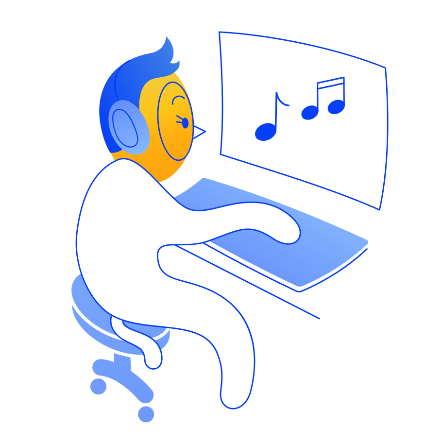 Listening to music Clipart illustration in PNG, SVG