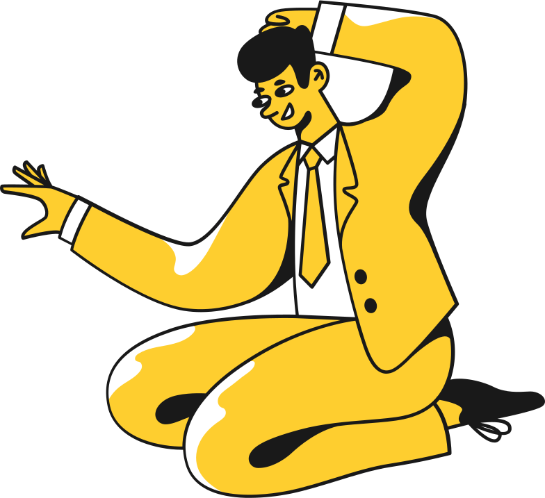 man in a suit sitting Clipart illustration in PNG, SVG