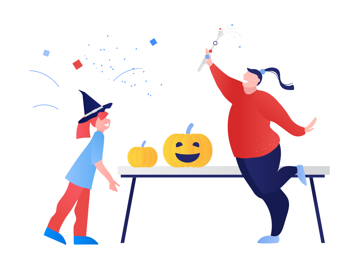 Halloween party at home Clipart illustration in PNG, SVG