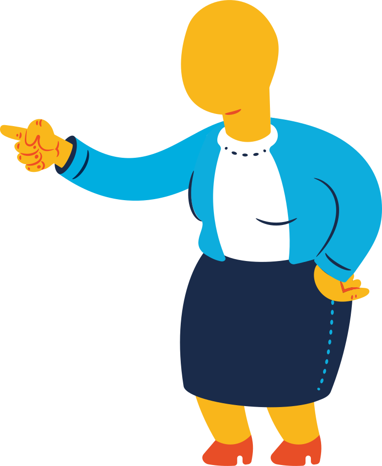 chubby old woman pointing Clipart illustration in PNG, SVG