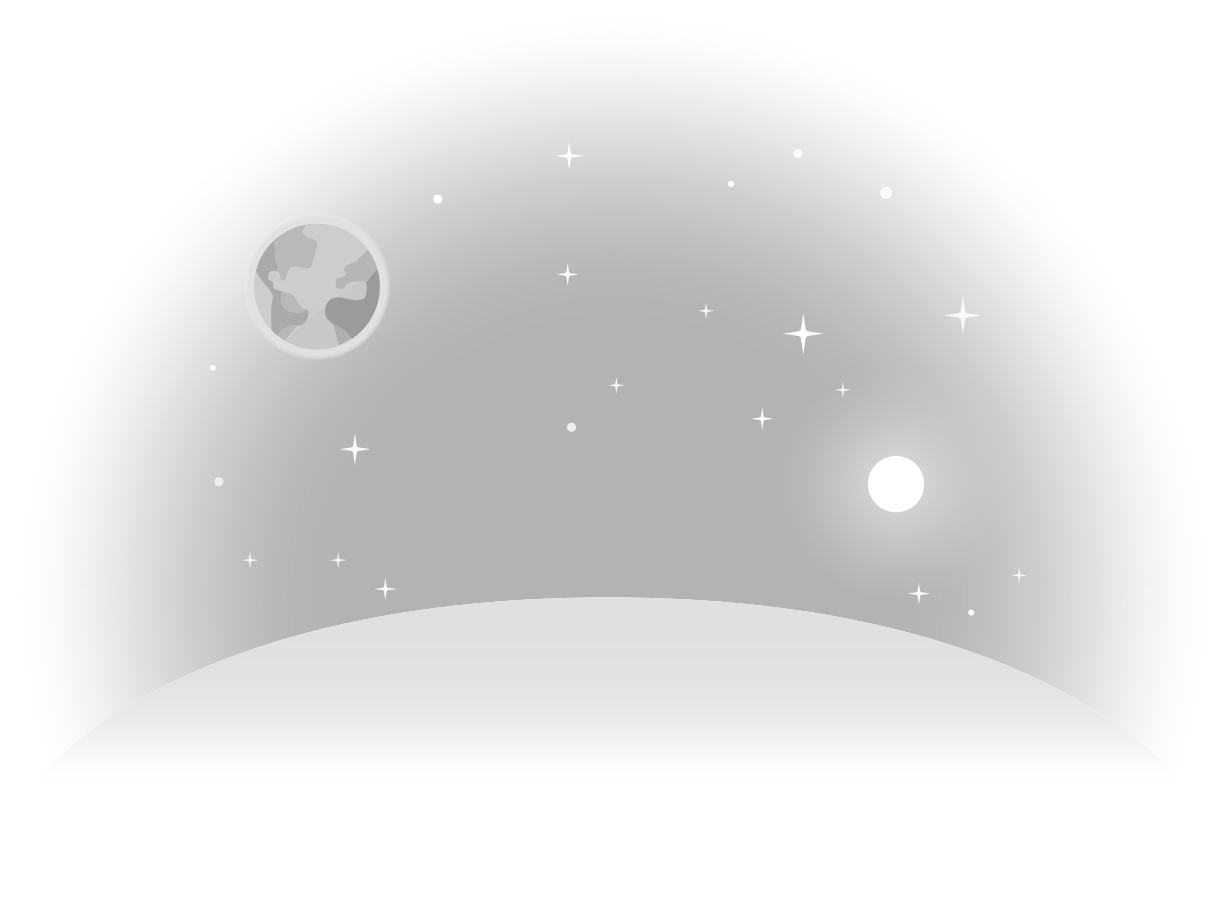 moon lanscape with sun and earth Clipart illustration in PNG, SVG