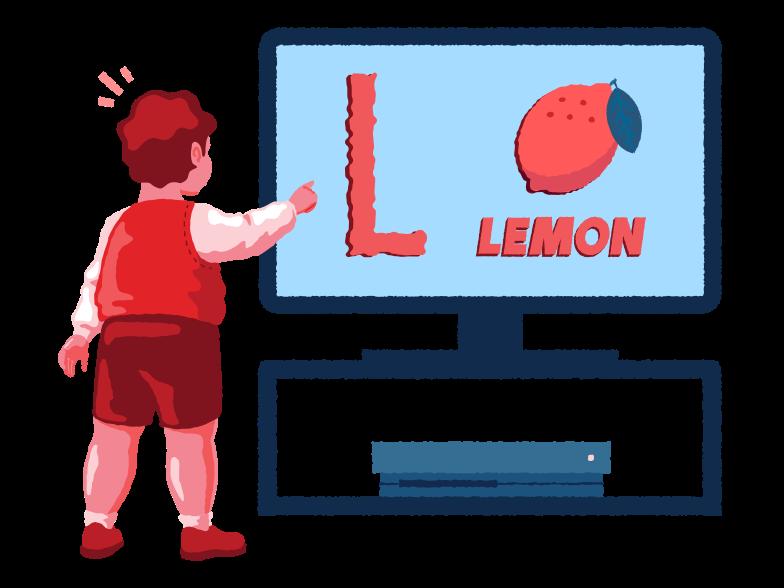 Boy learning alphabet Clipart illustration in PNG, SVG