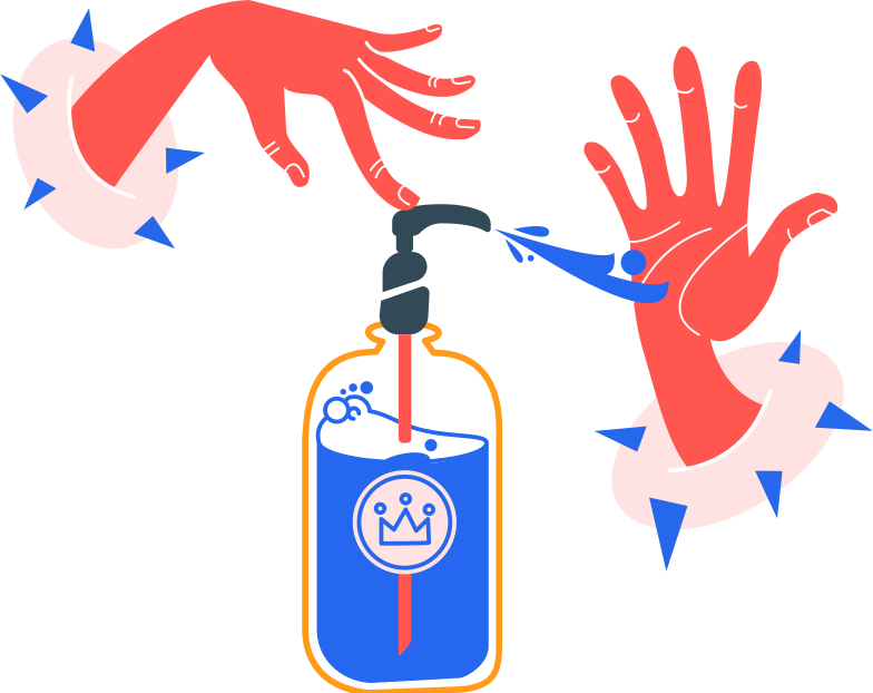 washing hands with an antiseptic without bubbles Clipart illustration in PNG, SVG
