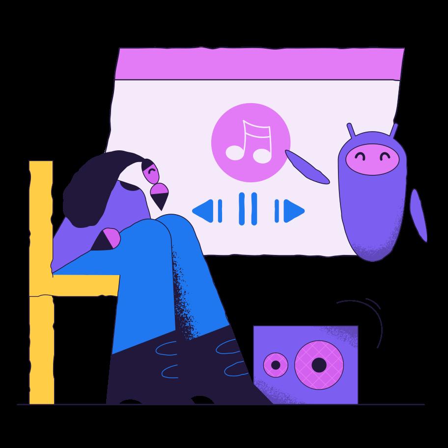 Musiksteuerung mit elektronischem assistenten Clipart-Grafik als PNG, SVG