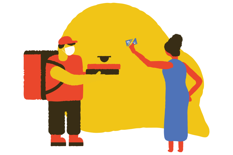 Delivery guy getting paid Clipart illustration in PNG, SVG