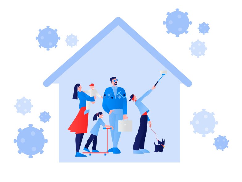 Stay home during the coronavirus epidemic. Family staying at home in self quarantine, protection from virus Clipart illustration in PNG, SVG