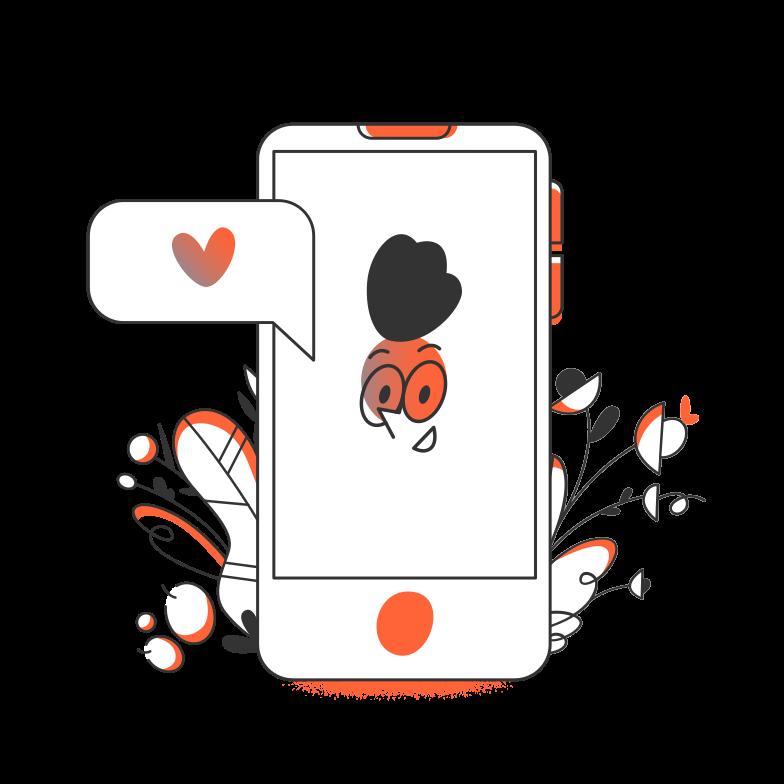 Love online Clipart illustration in PNG, SVG