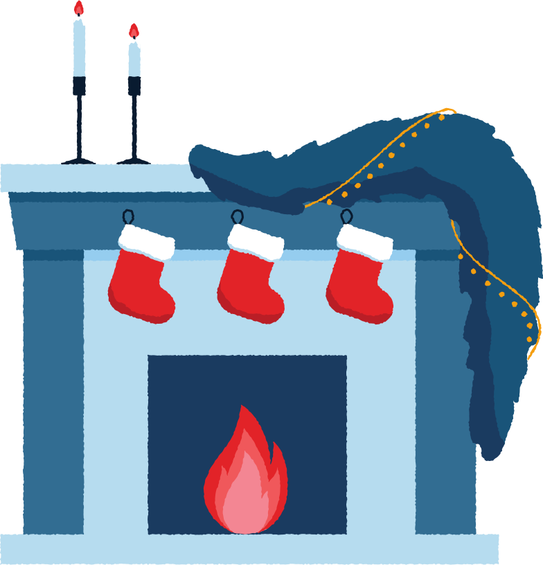 decorated fireplace Clipart illustration in PNG, SVG