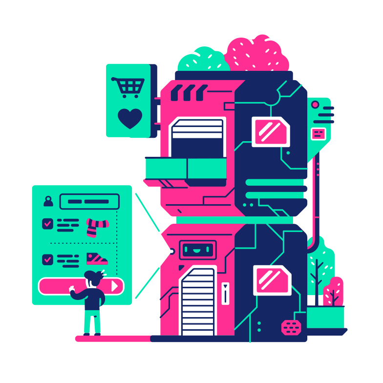 Distanced shopping Clipart illustration in PNG, SVG