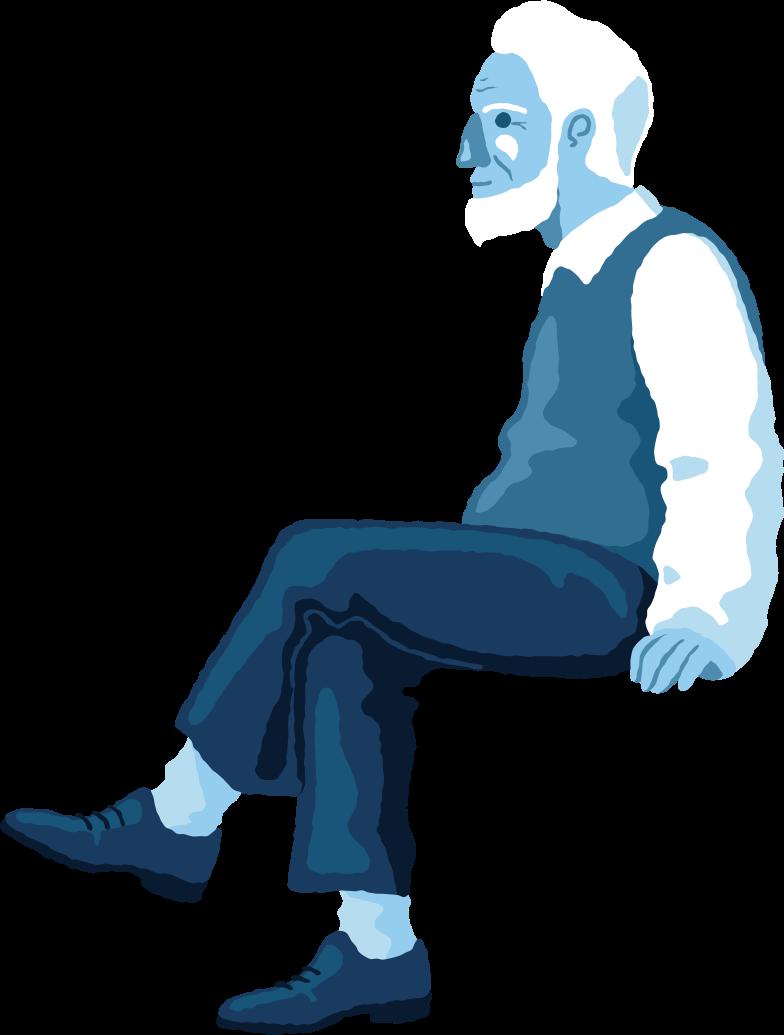 old man sitting profile Clipart illustration in PNG, SVG