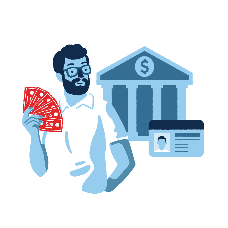 Taking money from the bank Clipart illustration in PNG, SVG
