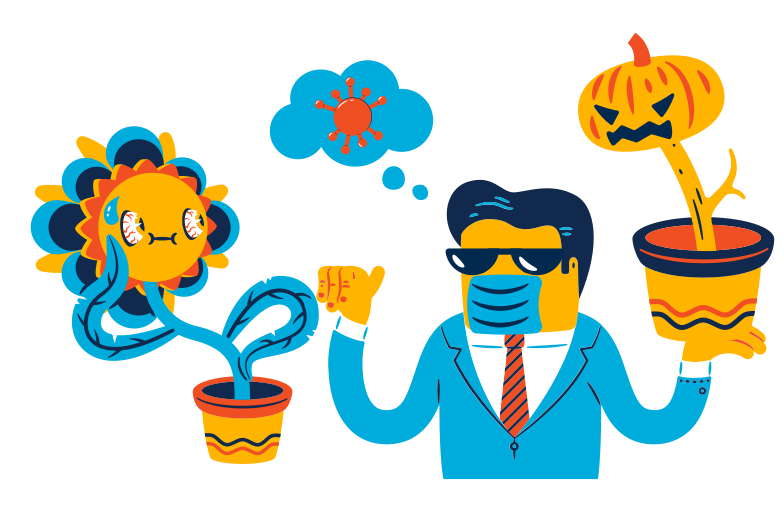Unpredictable consequences of the virus Clipart illustration in PNG, SVG