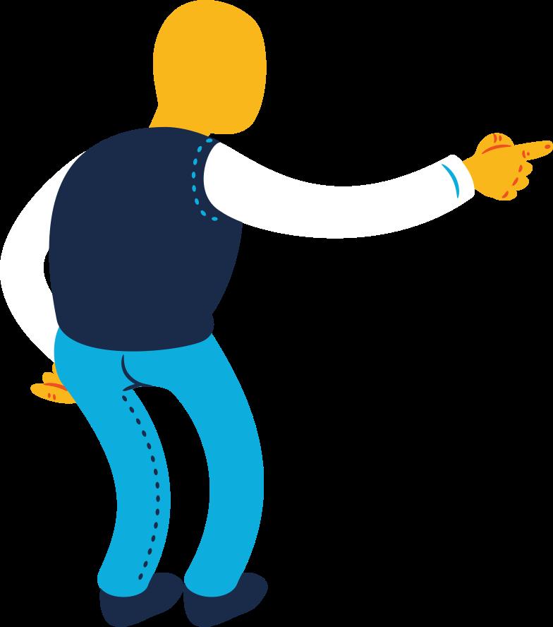 old man pointing back Clipart illustration in PNG, SVG