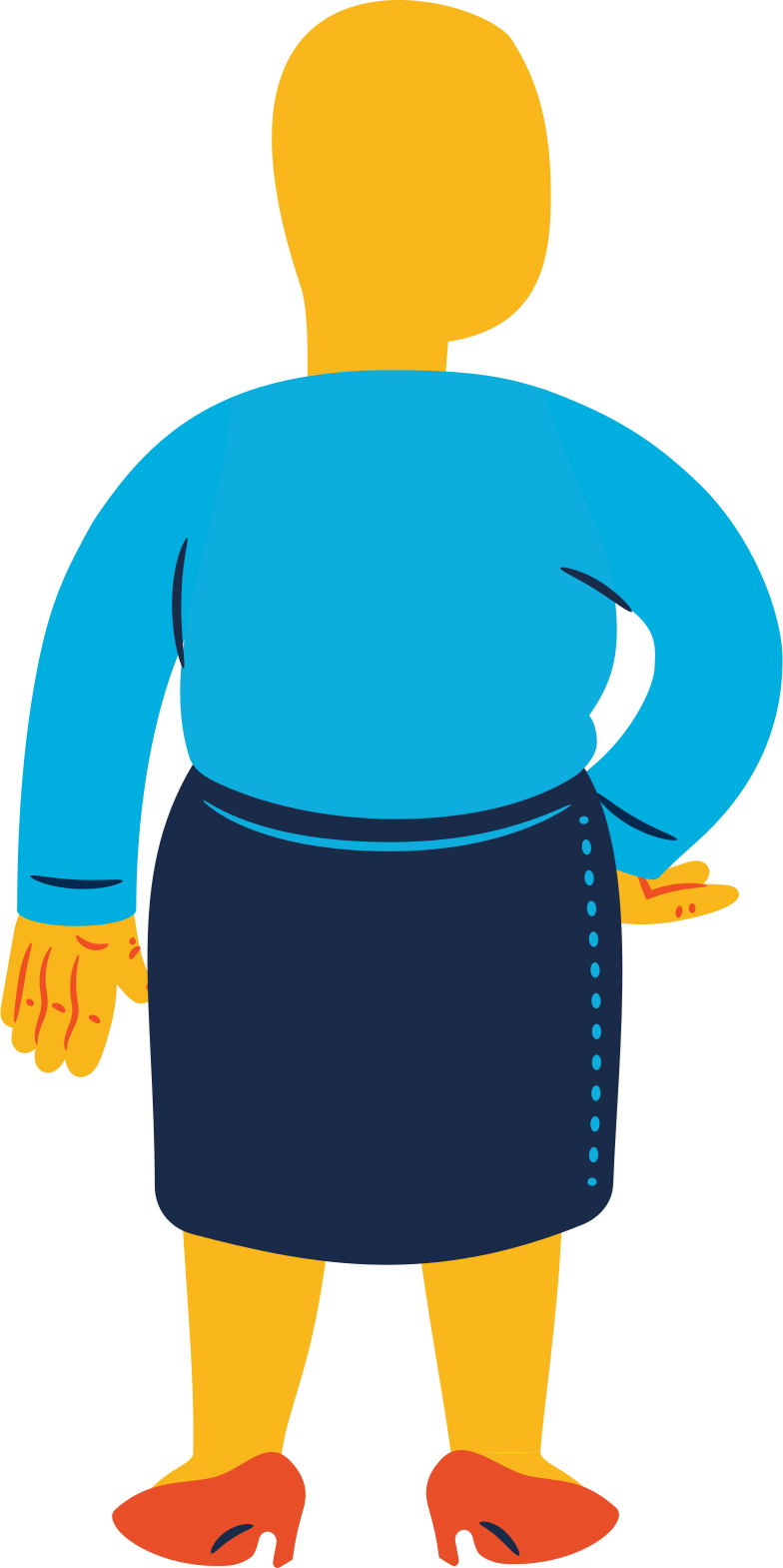 chubby woman standing back Clipart illustration in PNG, SVG