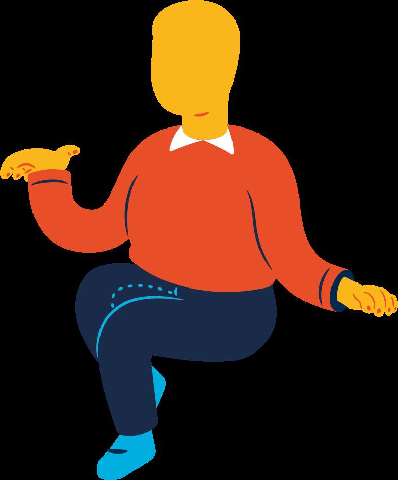 chubby man sitting Clipart-Grafik als PNG, SVG