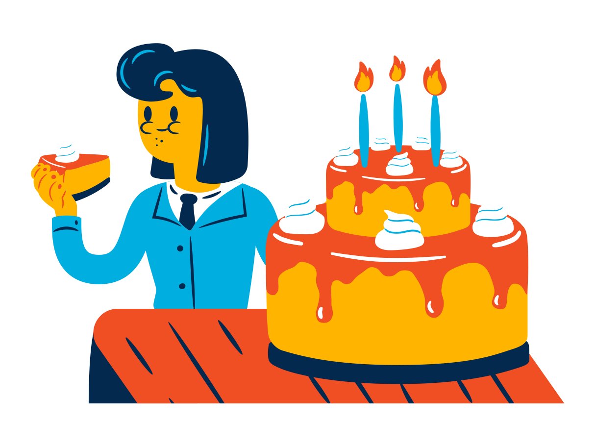 Woman eats a birthday cake Clipart illustration in PNG, SVG