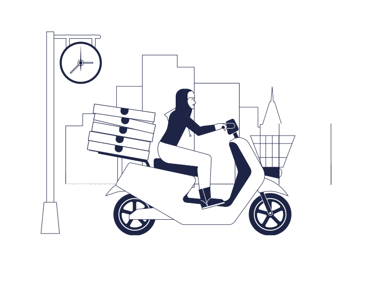 Pizza Delivery Clipart illustration in PNG, SVG