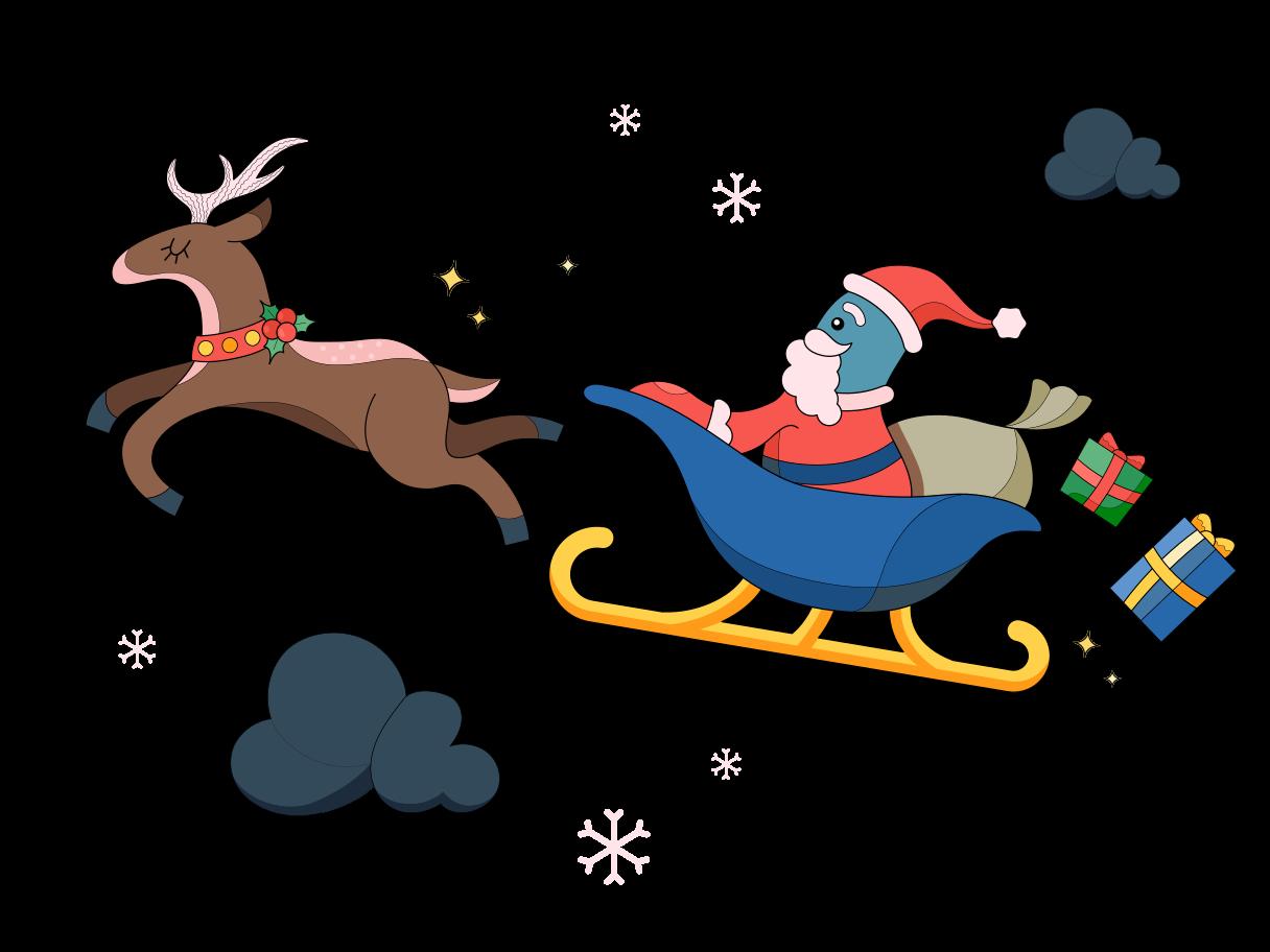 Der weihnachtsmann kommt Clipart-Grafik als PNG, SVG