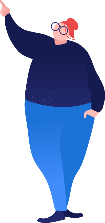 fat woman showing Clipart illustration in PNG, SVG