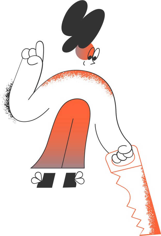 girl with saw Clipart illustration in PNG, SVG