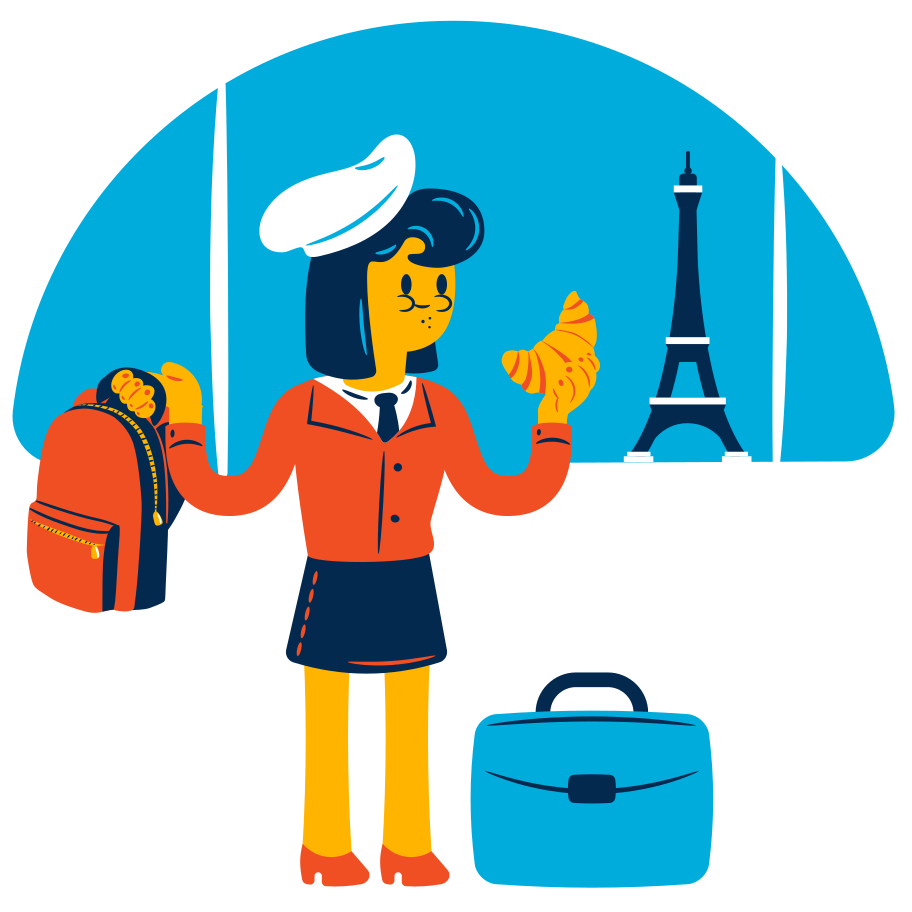 Vacation in France Clipart illustration in PNG, SVG