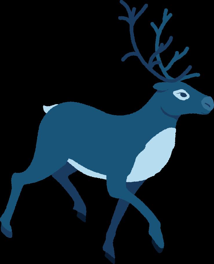 reindeer running profile Clipart illustration in PNG, SVG